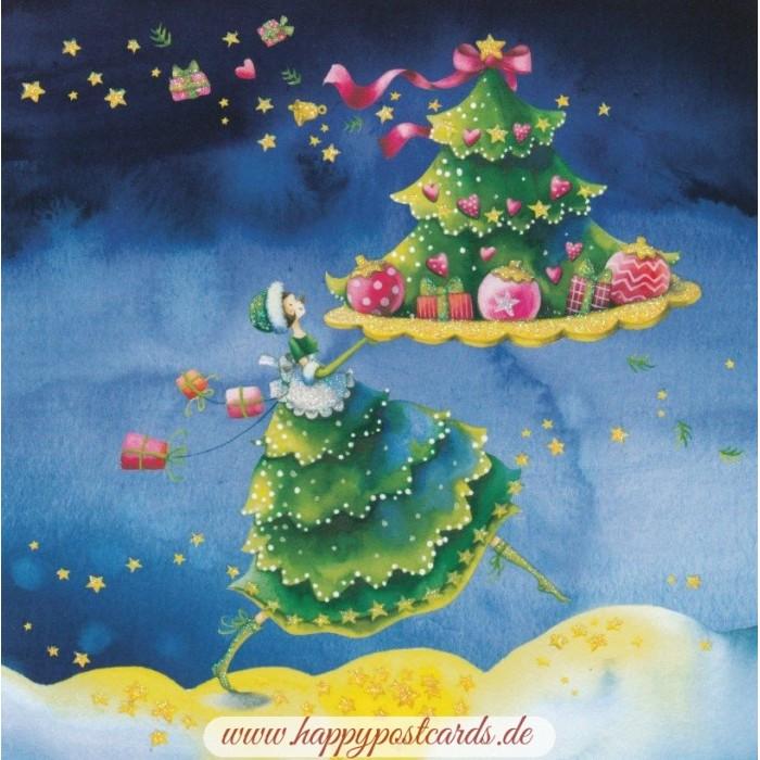 Ansichtskarte Katze unterm Weihnachtsbaum
