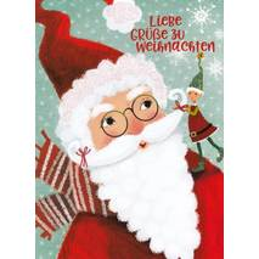 Santa Claus and a gnome - Mila Marquis Postcard