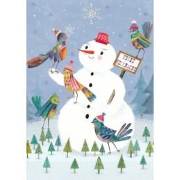 Frohe Weihnachten - Schneemann - Mila Marquis Postkarte