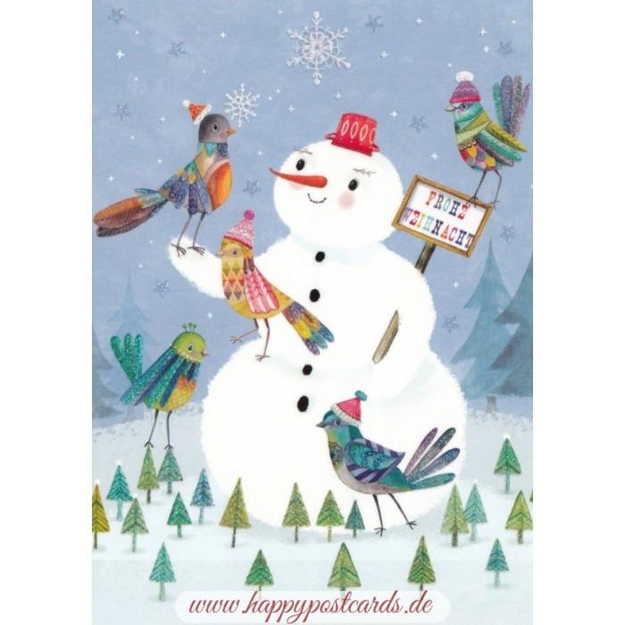 POSTKARTEN | Mila Marquis | Frohe Weihnachten - Schneemann - Mila ...