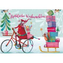 Santa Claus with a bicycle and presents - Mila Marquis Postcard
