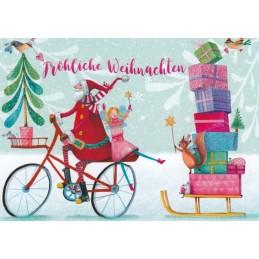 Weihnachtsmann mit Fahrrad und Geschenken - Mila Marquis Postkarte