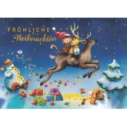 Cats on a reindeer - Nina Chen Postcard