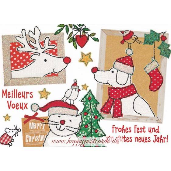 Frohes Fest - animals - Carola Pabst Postcard