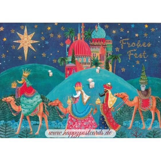 Frohes Fest - Three Magi  - Postcard