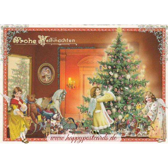 Angels with christmas tree - Tausendschön - Postcard