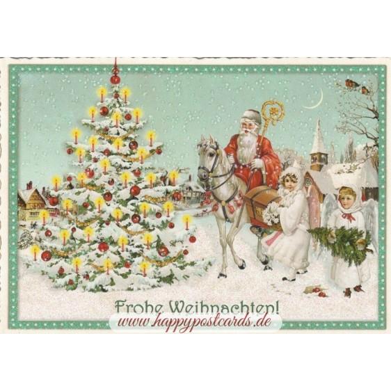 Santa Claus on a horse - Tausendschön - Postcard