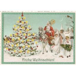 Weihnachtsmann auf Pferd - Tausendschön - Weihnachtskarte