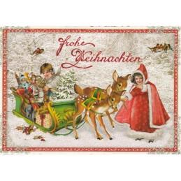 Kinder mit Rehen und Schlitten - Tausendschön - Weihnachtspostkarte