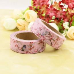 Vögel auf rosafarbenem Hintergrund - Washi Tape - Masking Tape