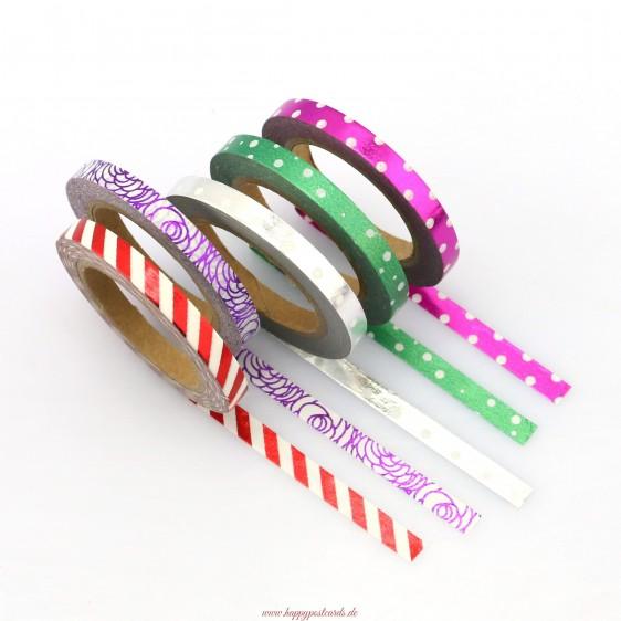 Mix 5 thinn rolls foil - Washi Tape - Masking Tape