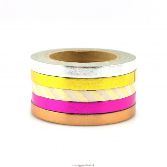 Mix 5 thinn rolls 2 foil - Washi Tape - Masking Tape