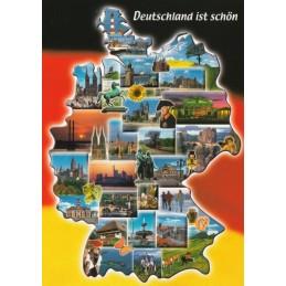 Deutschland - Karte und Fahne - Ansichtskarte