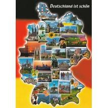 Germany - map and flag - Viewcard