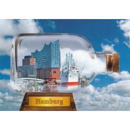 Hamburg - Flaschenschiff mit Elbphilarmonie - Anischtskarte