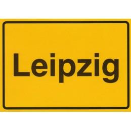 Leipzig - Ortsschild - Postkarte