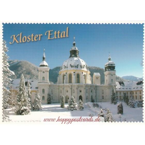 Kloster Ettal Briefmarkenrand - Ansichtskarte