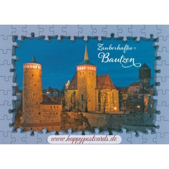 Bautzen Church - Puzzleborder Viewcard