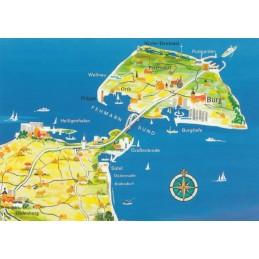 Baltic Sea - Fehmarn - Map - Postcard