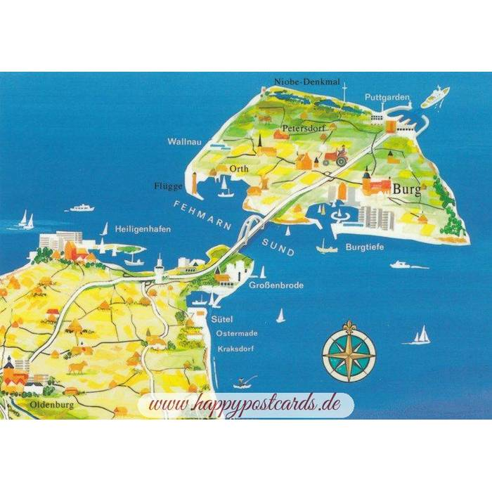 Fehmarn Karte Ostsee.Ostsee Fehmarn Map Postkarte