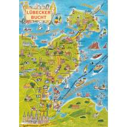 Baltic Sea - Lübecker Bucht - Map - Postcard