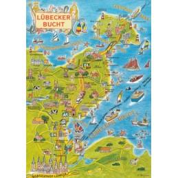 Ostsee - Lübecker Bucht - Map - Postkarte