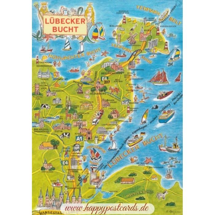 Karte Lübeck.Ostsee Lübecker Bucht Map Postkarte