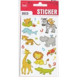 Tierkinder und Zahlen Sticker