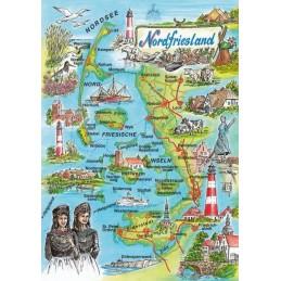 Nordfriesland - Map - Postkarte