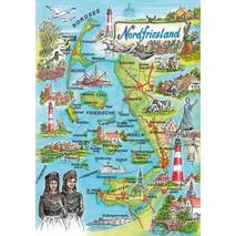 North Frisia - Map - Postcard