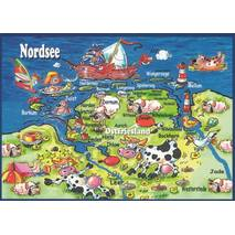 East Frisia - Map - Postcard