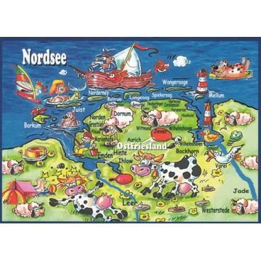 Ostfriesland - Map - Postkarte