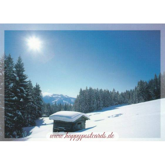 Mountain shelter in snow - Viewcard