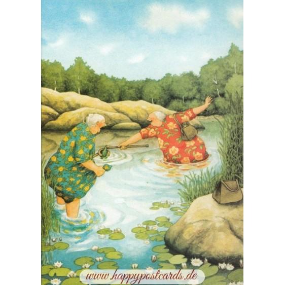 58 - Frauen angeln Flaschenpost - Löök Postkarte