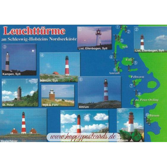 Lighthouses in Schleswig-Holstein - Viewcard