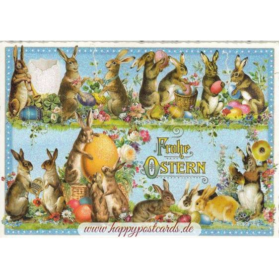 Happy Easter - Funny bunnies - Tausendschön - Postcard