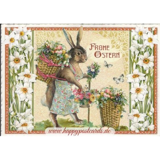 Happy Easter - Bunny with basket - Tausendschön - Postcard