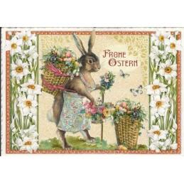 Frohe Ostern - Hase mit Korb - Tausendschön - Osterkarte