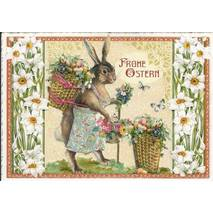 Happy Easter - Bunny with basket - Tausendschön - Postcard