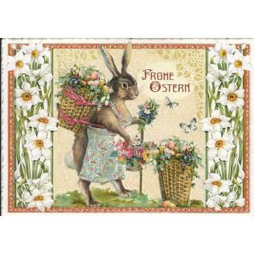 Frohe Ostern - Hase mit Korb - Tausendschön - Weihnachtskarte