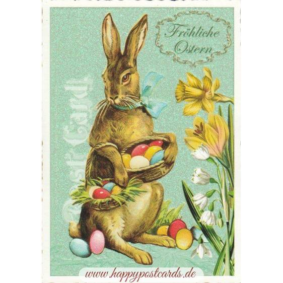 Happy Easter - Bunny with eggs - Tausendschön - Postcard