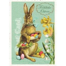 Frohe Ostern - Hase mit Ostereiern - Tausendschön - Osterkarte