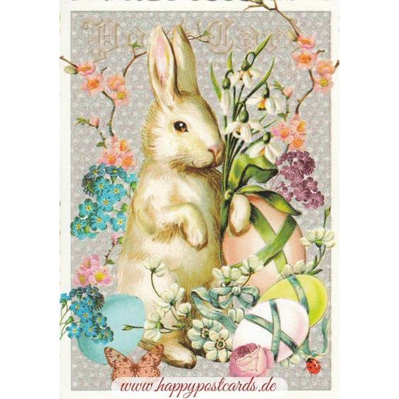 Frohe Ostern - Hase mit Frühlingsblumen - Tausendschön - Osterkarte