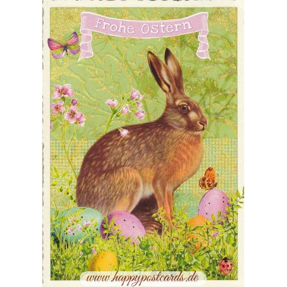 Happy Easter - Bunny and butterflies - Tausendschön - Postcard