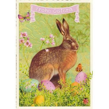 Frohe Ostern - Hase und Schmetterlinge - Tausendschön - Osterkarte