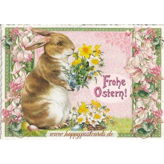 Happy Easter - Bunny with a bouquet of flowers - Tausendschön - Postcard