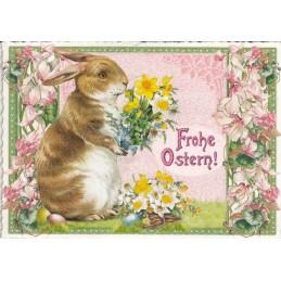 Frohe Ostern - Hase mit Blumenstrauß - Tausendschön - Osterkarte
