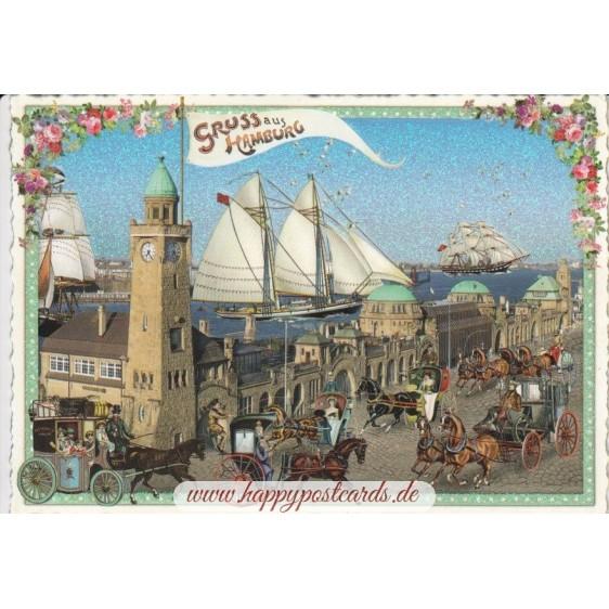Hamburg - Landungsbrücken - Tausendschön - Postkarte