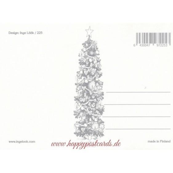 225 - Zwerg mit Vogelfutter im Schnee - Postkarte
