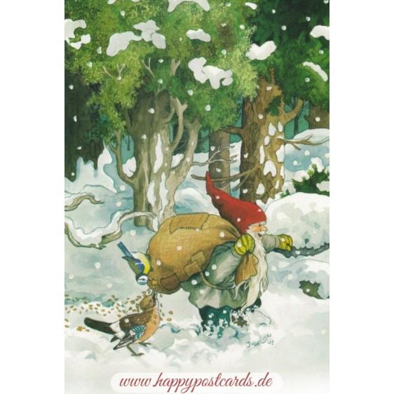 209 - Dwarf with birdseeds in snow - Postcard